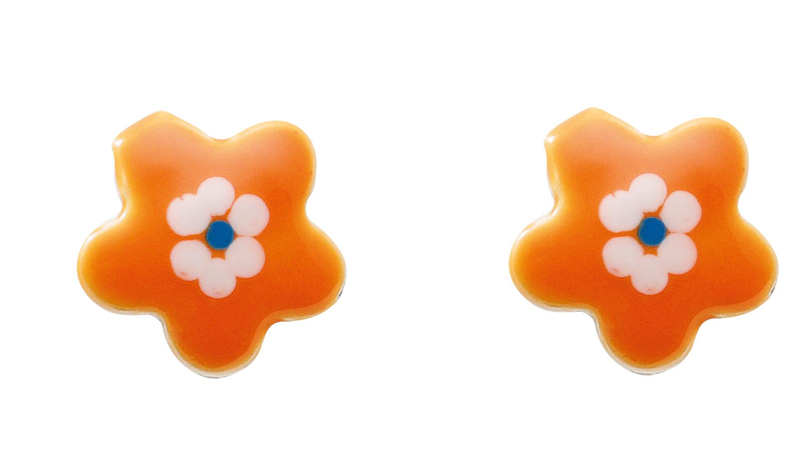 bloem oorbellen zilver