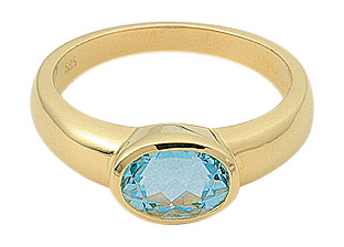 ring goud met aquamarijn