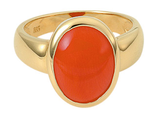 ring goud met bloedkoraal