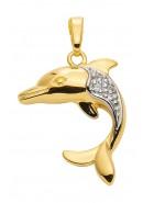 hanger dolfijn goud met zirkonia