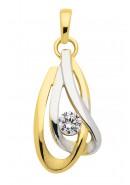 hanger gerhodineerd met zirkonia goud