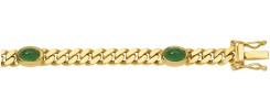 armband plat gourmet goud met smaragd